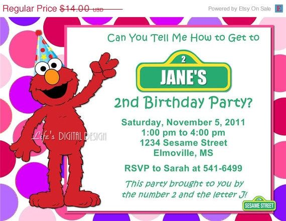 Elmo Invitations Pink And Purple Birthday Party Photo Option