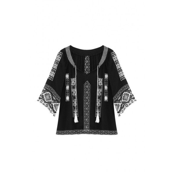 Yoins Black Lace Splicing Sleeve Embroidered Blouse (€31) ❤ liked on Polyvore featuring tops, blouses, black, shirts & tops, boho blouse, sleeve shirt, bohemian blouses, lace shirt and boho shirts