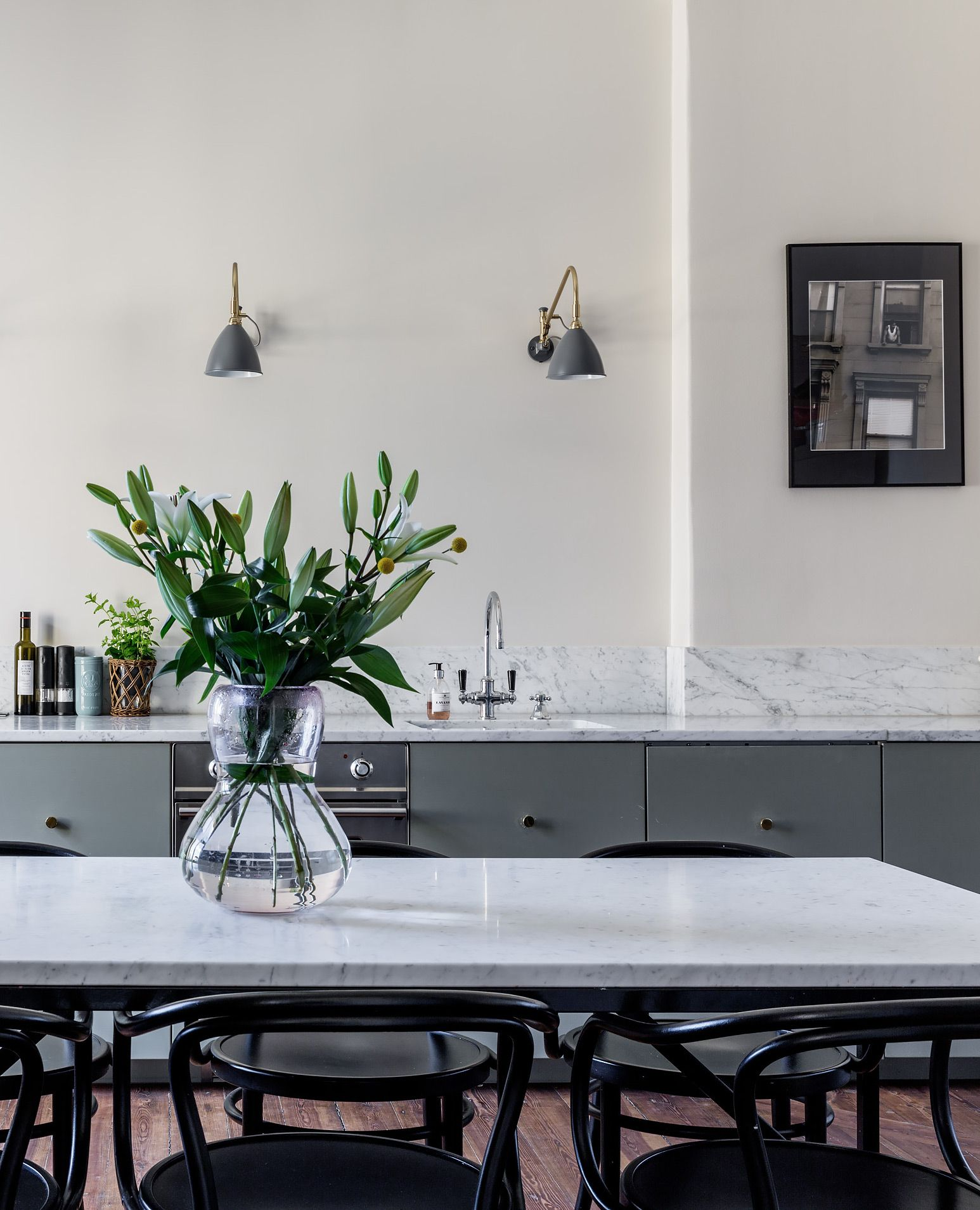 Stylish kitchen and dining space via coco lapine design kitchen