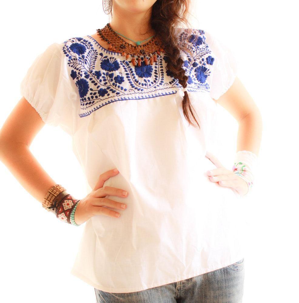 81588ae95bc89 Aida Coronado: Talavera ethnic embroidered white blouse | Clothes ...