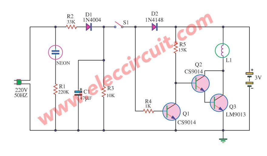 mini emergency light by 9013 transistor simple electronic circuits rh pinterest com