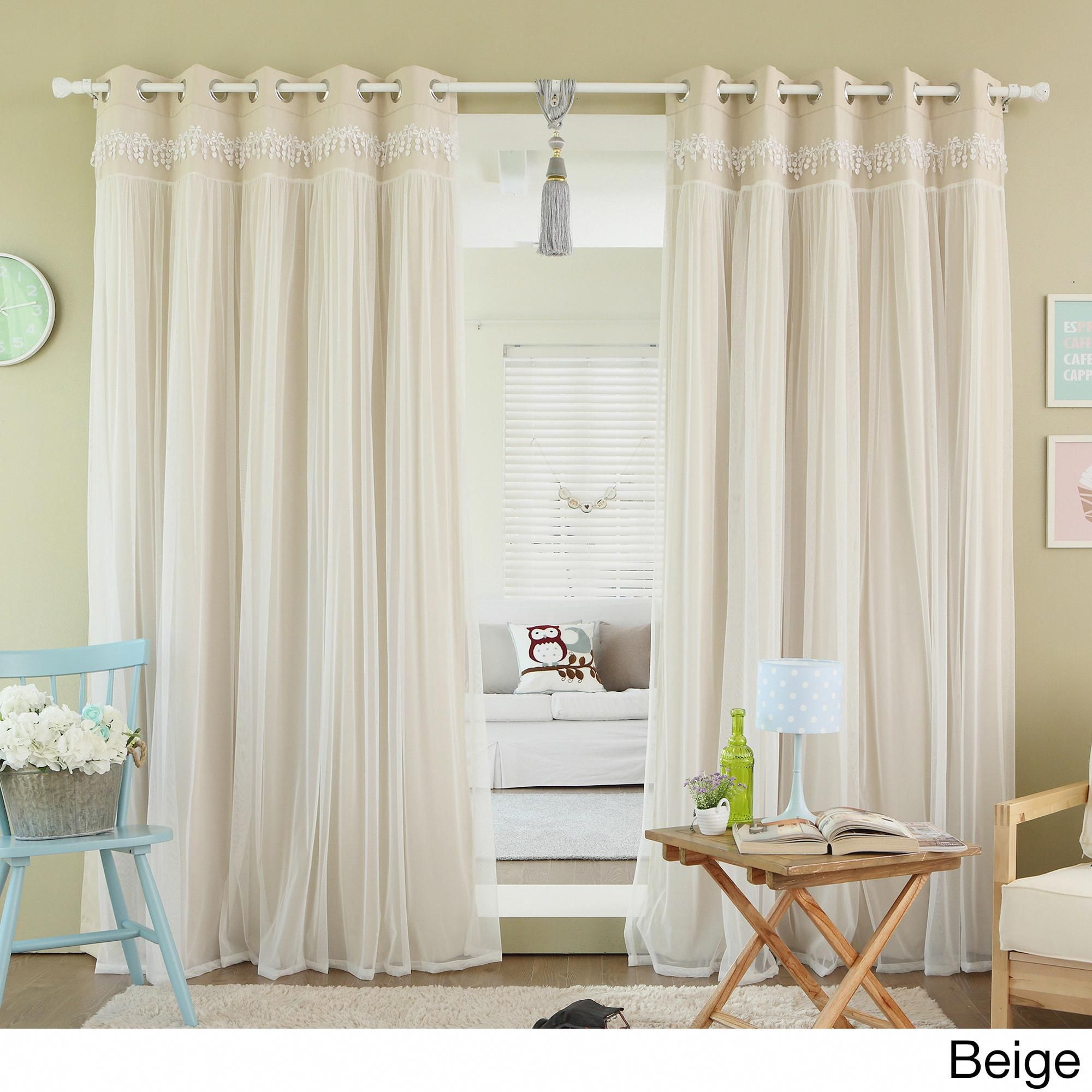 Aurora Home Lace Overlay Room Darkening Grommet Top Curtain Panel