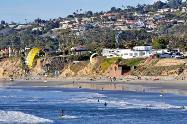 Pacific Beach has two miles of shore line and is the most popular beach in the City of San Diego.     Photo credit: Flickr user SD Dirk