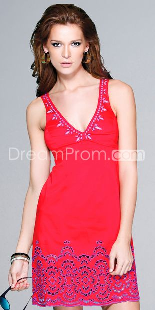 Red Beaded Cut Out Dresses  EE492550