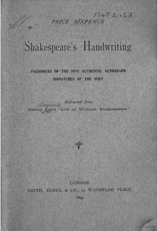 Shakespeare S Handwriting