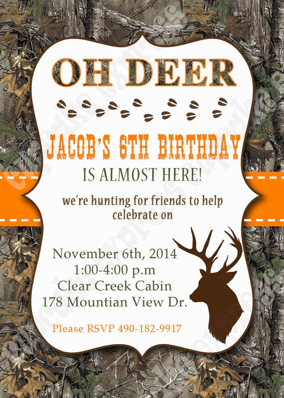 PRINTABLE Hunting Birthday Party Invitation DIY by ...   Hunting Party Printables