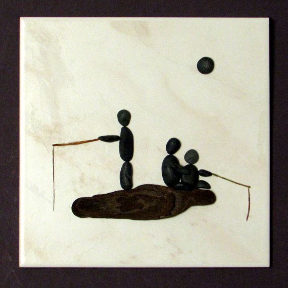 3D Pebble Art on ceramic tile Family by BeachWalkCreationsCA, $48.00