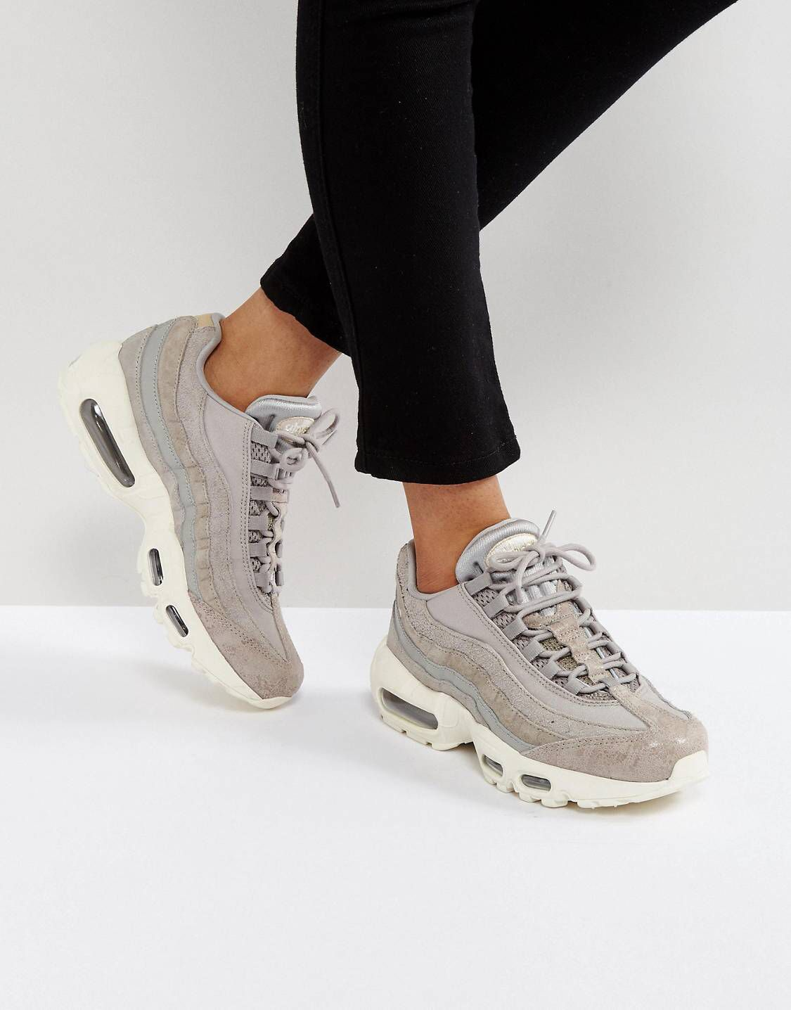 check out 9fc48 68f98 Nike Air Max 95 Premium Trainers In Light Grey   ASOS