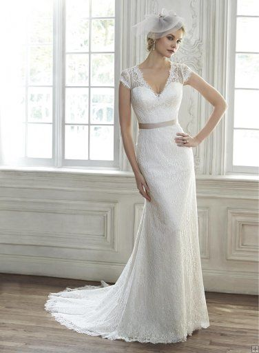 Exquisite v Neck Cap Sleeved Sheath All over Lace Patterns Wedding ...