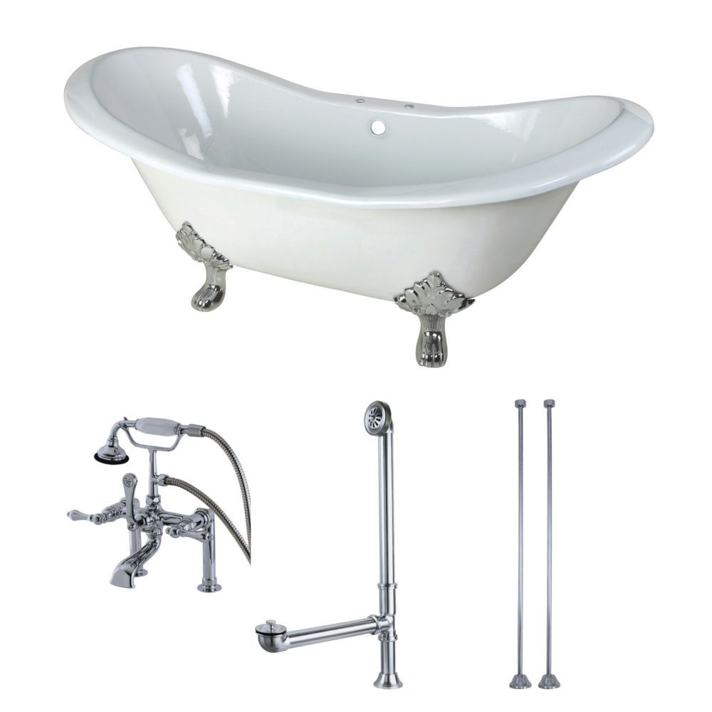Double slipper ft cast iron clawfoot bathtub in white and faucet