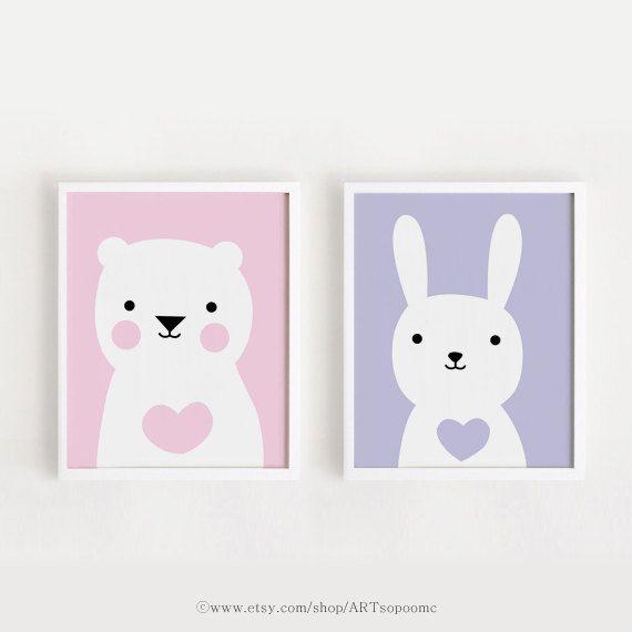 Printable Nursery Art Set of 2 Poster Bear Bunny Baby grils room ...