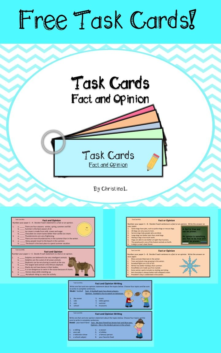 Fact And Opinion Task Cards Fact And Opinion Fact