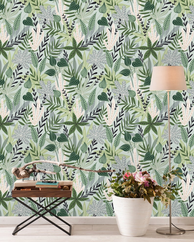 Botanical Pattern Removable Wallpaper Peel And Stick Etsy Removable Wallpaper Peel And Stick Wallpaper Wall Wallpaper