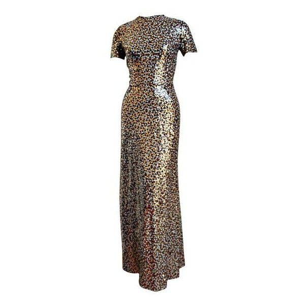 1960's BILL BLASS floor length sequined gown ❤ liked on Polyvore featuring dresses, gowns, floor length sequin gown, floor length gowns, sequin evening dresses, floor length evening dresses and floor length evening gown