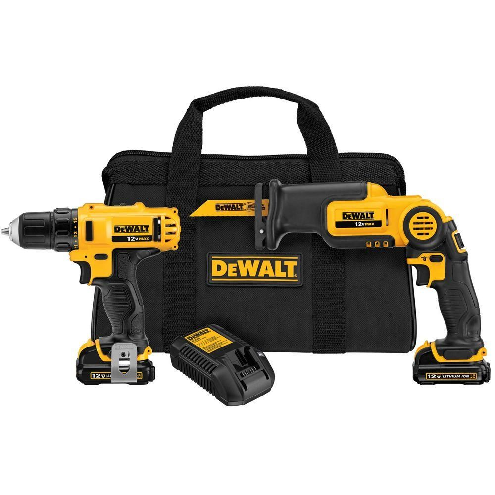 Dewalt 12 Volt Max Lithium Ion Cordless Drill Driver And Reciprocating Saw Combo Kit 2 Tool W 2 Batteries Charger And Bag Combo Kit Dewalt Dewalt Drill