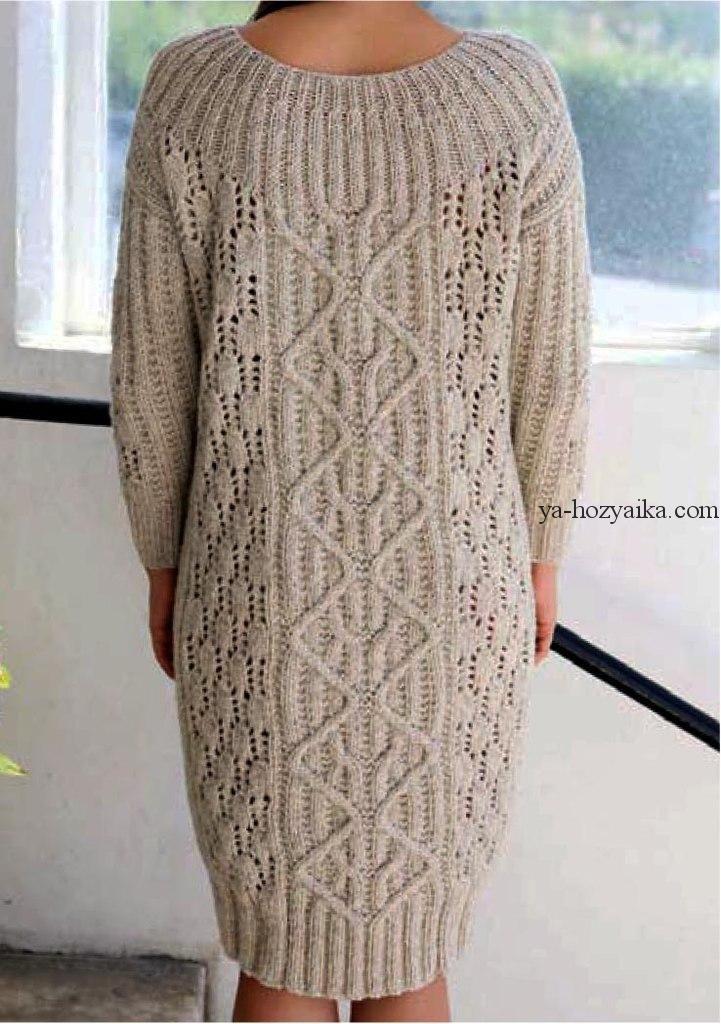 тёплое платье спицами схема выкройка связать теплое платье спицами