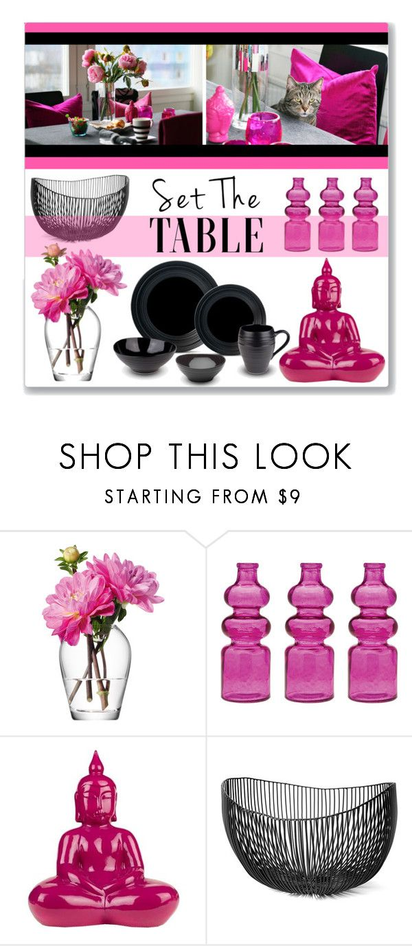 """Set The Table - Black & Pink"" by leanne-mcclean ❤ liked on Polyvore featuring interior, interiors, interior design, home, home decor, interior decorating, LSA International, Cultural Intrigue, Surya and Serax"