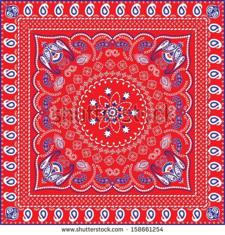 bandana design template red blue white retro patterned bandana