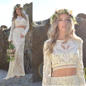 Vtg Crochet Victorian Lace Festival Long Slv Scallop 2 Pc Boho Wedding Dress