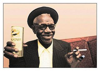 Walter Furry Lewis by Bluesoundz Radio, via Flickr. Blues legends should not have to drink Falstaff tallboys. Let's hope he actually liked them.