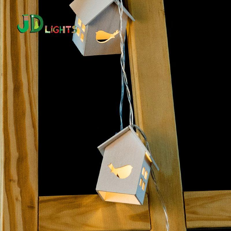 Goedkope Vogel Houten huis Duif wedding decoratie fairy lights lamp ...