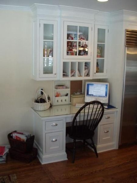 Custom Built Desk Area For Kitchen Glass Top Protects Writing