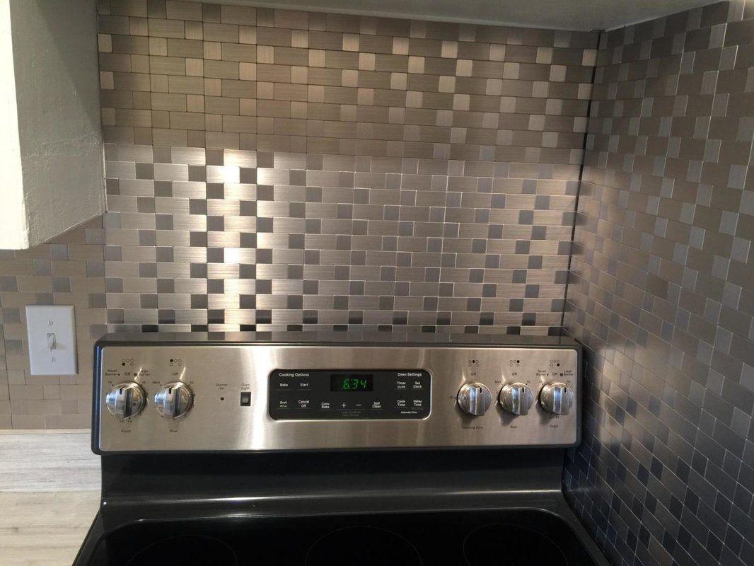 12 X 12 Metal Peel Stick Mosaic Tile In Gray Silver Mosaic