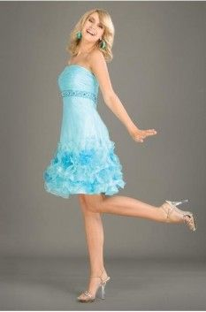 Beautiful Fashion Baby Blue Organza Satin Strapless Applique Beading Cocktail Dresses Of Short
