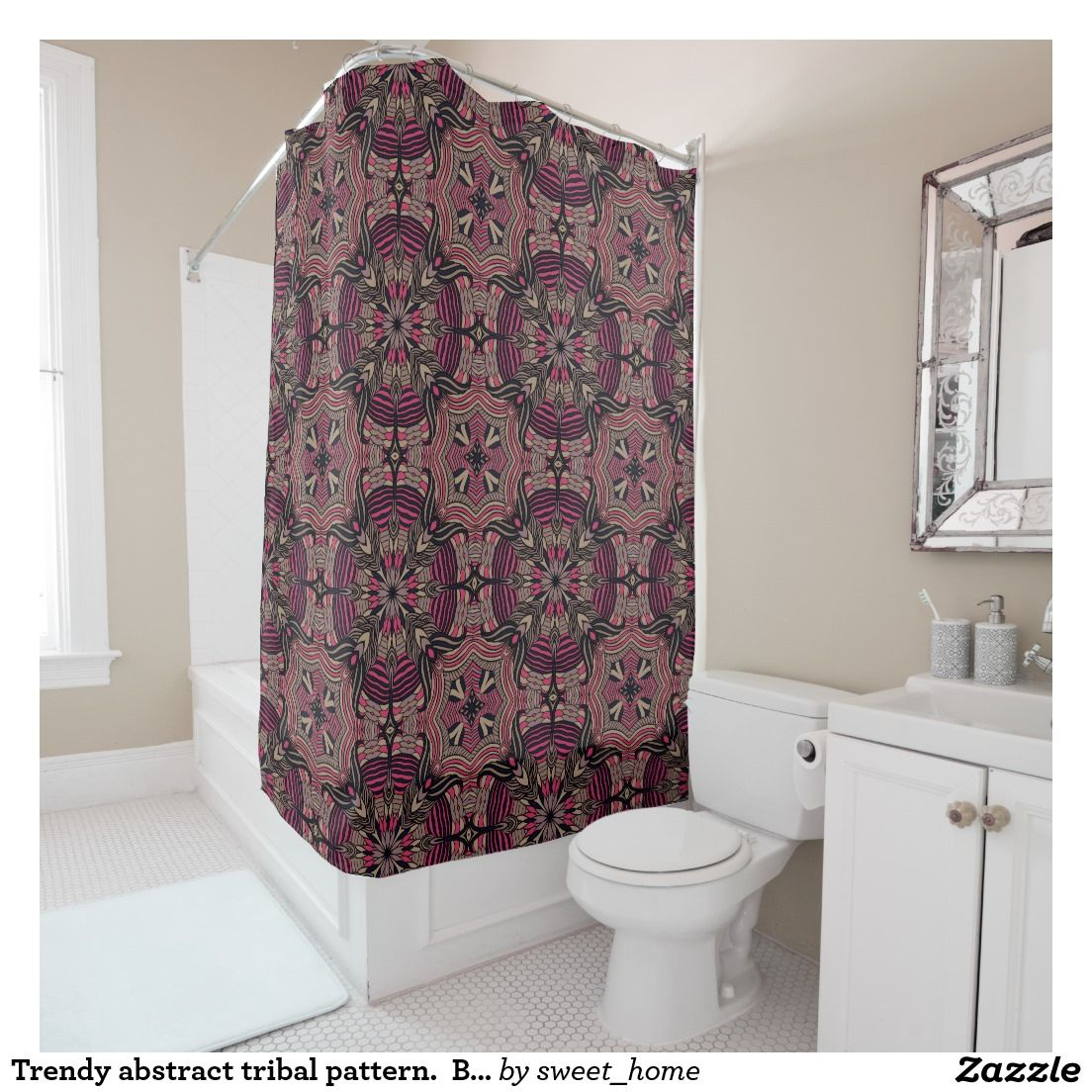 Trendy abstract tribal pattern.  Brown and pink. Shower Curtain For home design and decor. Beautiful home accessories ideas. Luxury elegant style.