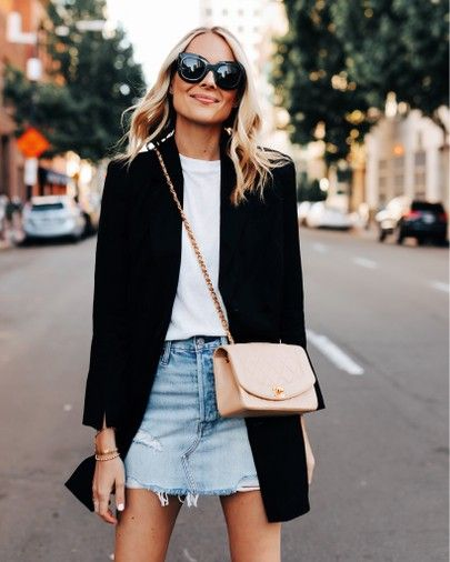 Black blazer & denim skirt is part of Fashion -