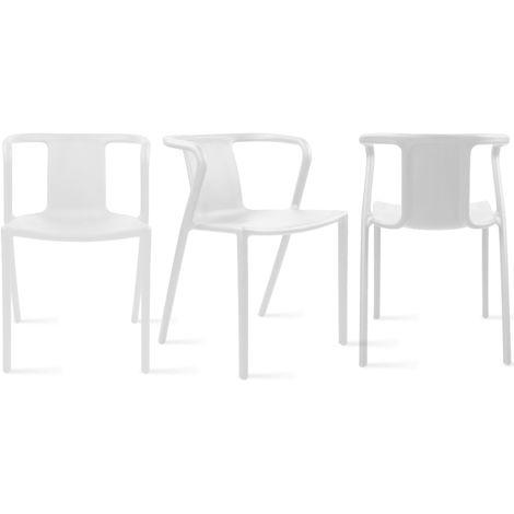 Lot De 4 Fauteuil De Jardin Design En Plastique Berlin Blanc 104314 En 2020 Fauteuil Jardin Fauteuil Plastique Chaise De Jardin
