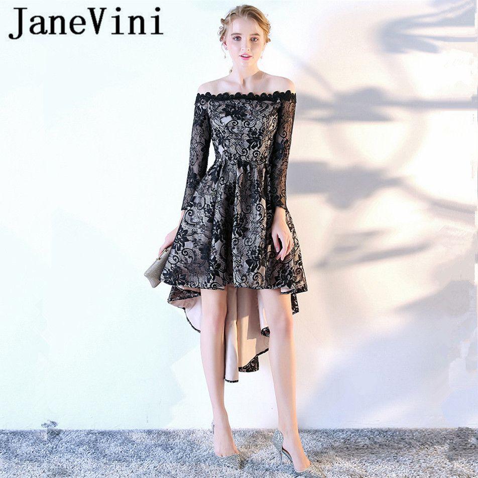 Janevini vintage long bridesmaid dresses lace high low boat neck