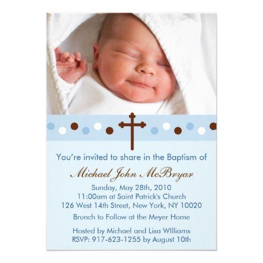 Trendy Blue Polka Dots Custom Baptism Invitations Baptism