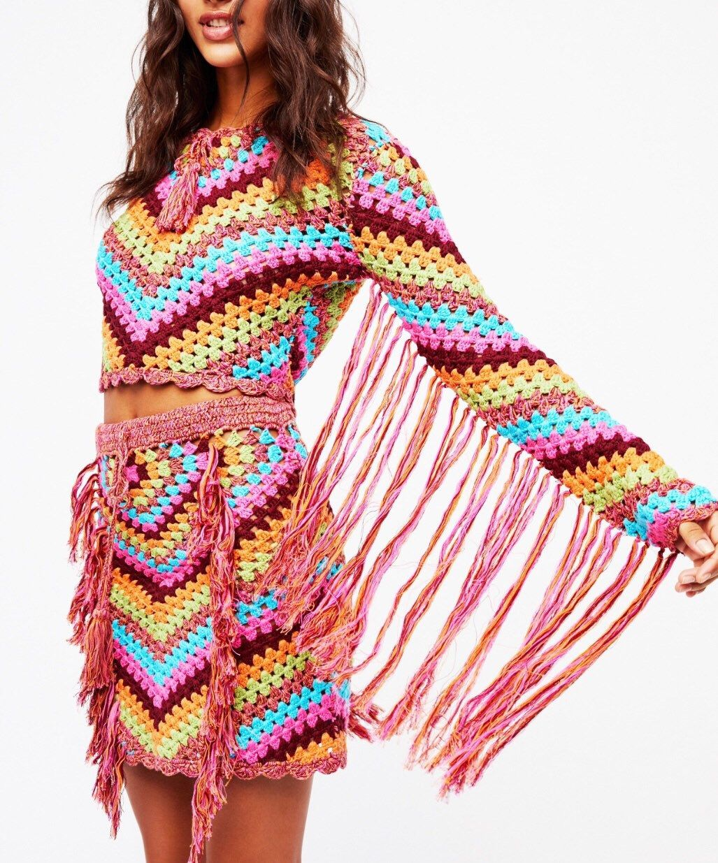 Crochet Multicolor Top and Skirt , Diagonal Striped Tassels, Boho Hippie Gypsy , Festival Clothing .