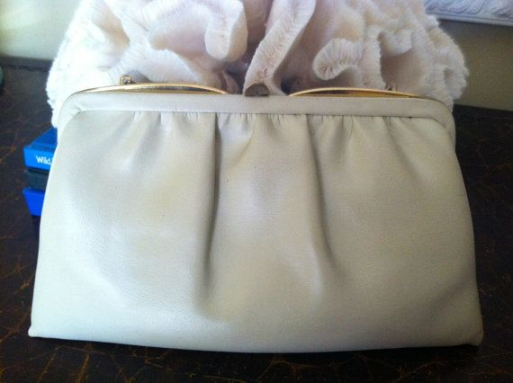 Vintage Retro 1950s Gathered Leather Ande Cream by EcoBeachDesigns, $14.00