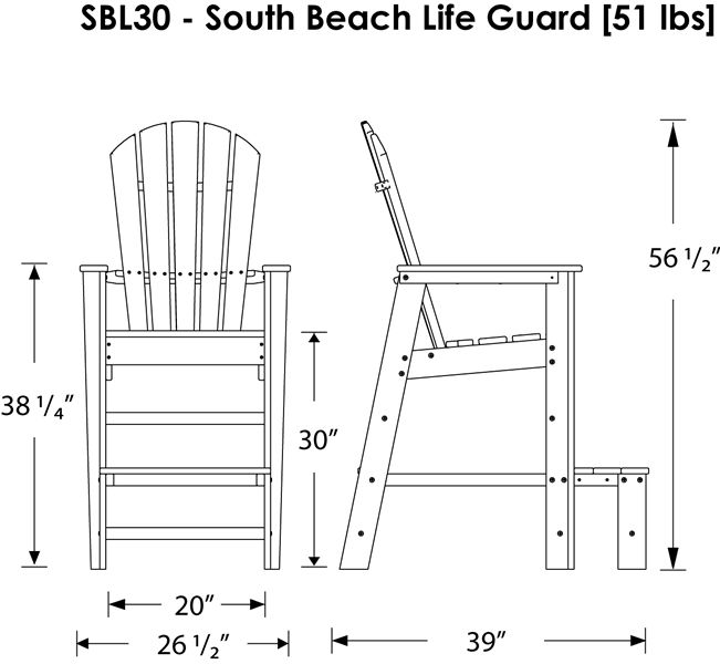 Polywood South Beach Lifeguard Chair Product Diagram