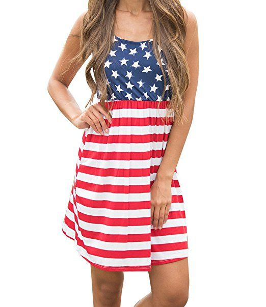 6336186ae63 Imily Bela Women s Sleeveless Floral Print Stars and Stripes Racerback Midi Tank  Dress USA Flag
