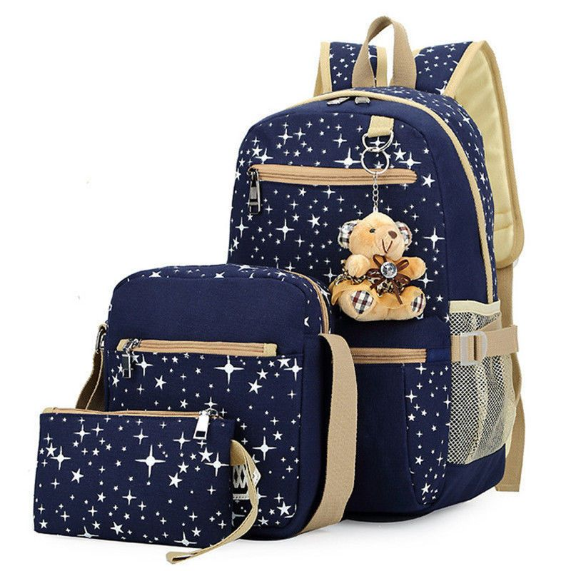 Women Girl Canvas Shoulder School Bag Backpack Travel Satchel Rucksack Handbag