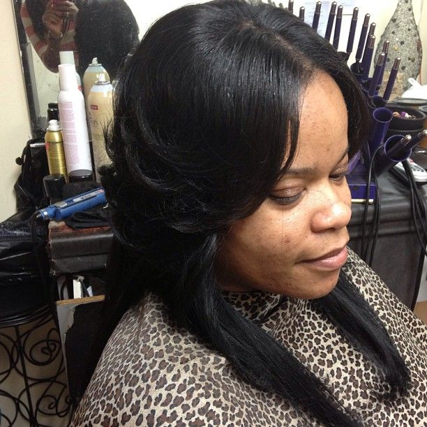 Full Head Natural Sewin Weave With A Little Hair Left Out In