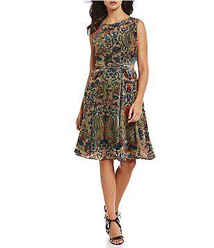 65f23a0b4d0 Eva Franco Burnout Velvet Fit-and-Flare Midi Dress