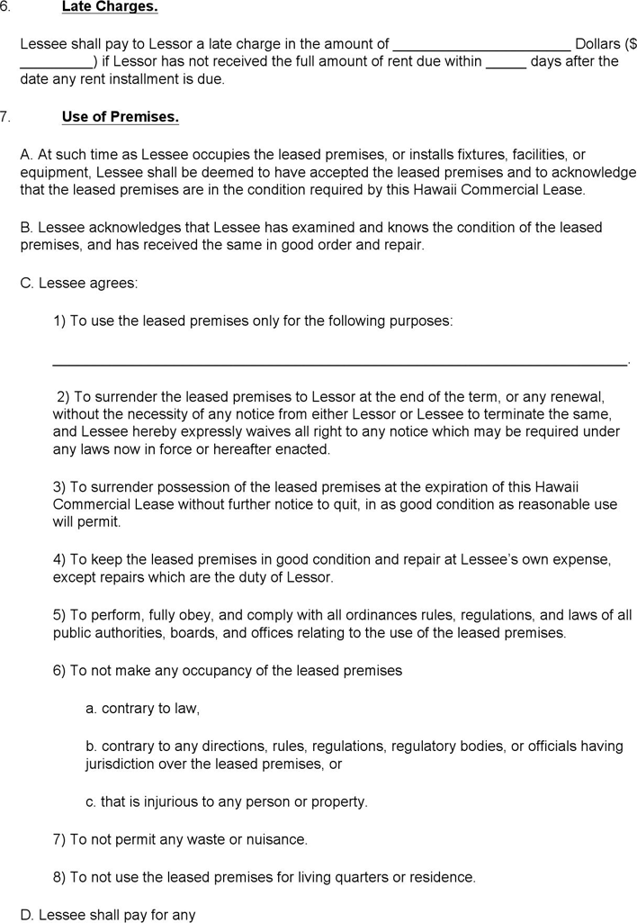Hawaii Commercial Lease Agreement Download Free Printable ...