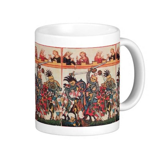 MEDIEVAL TOURNAMENT, FIGHTING KNIGHTS AND DAMSELS COFFEE MUGS