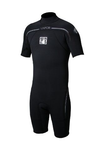 Body Glove Mens 2/1mm Vapor Short Sleeve Back Zip Springsuit Wetsuit, Black, Small