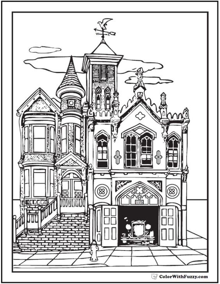 This Old House Looks So Neat Next To The Fire Station Adult Coloring Page