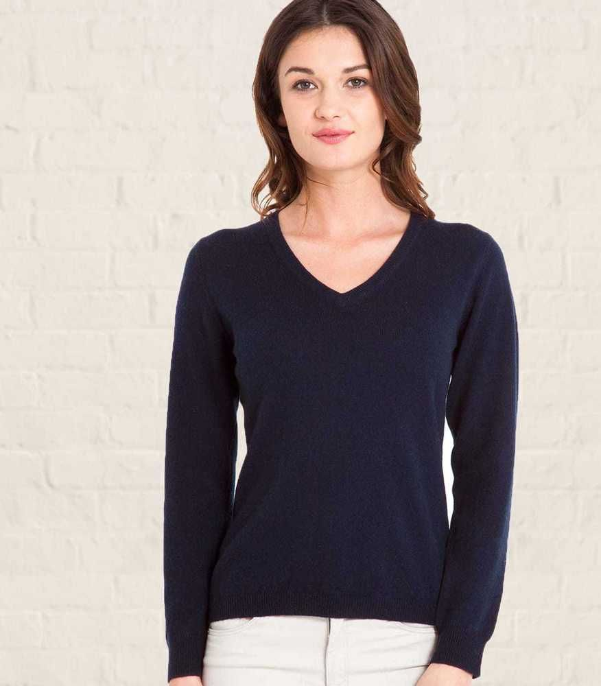 af65c228a8b Woolovers Cashmere and Merino V Neck Knitted Sweater NavySize S RRP ...