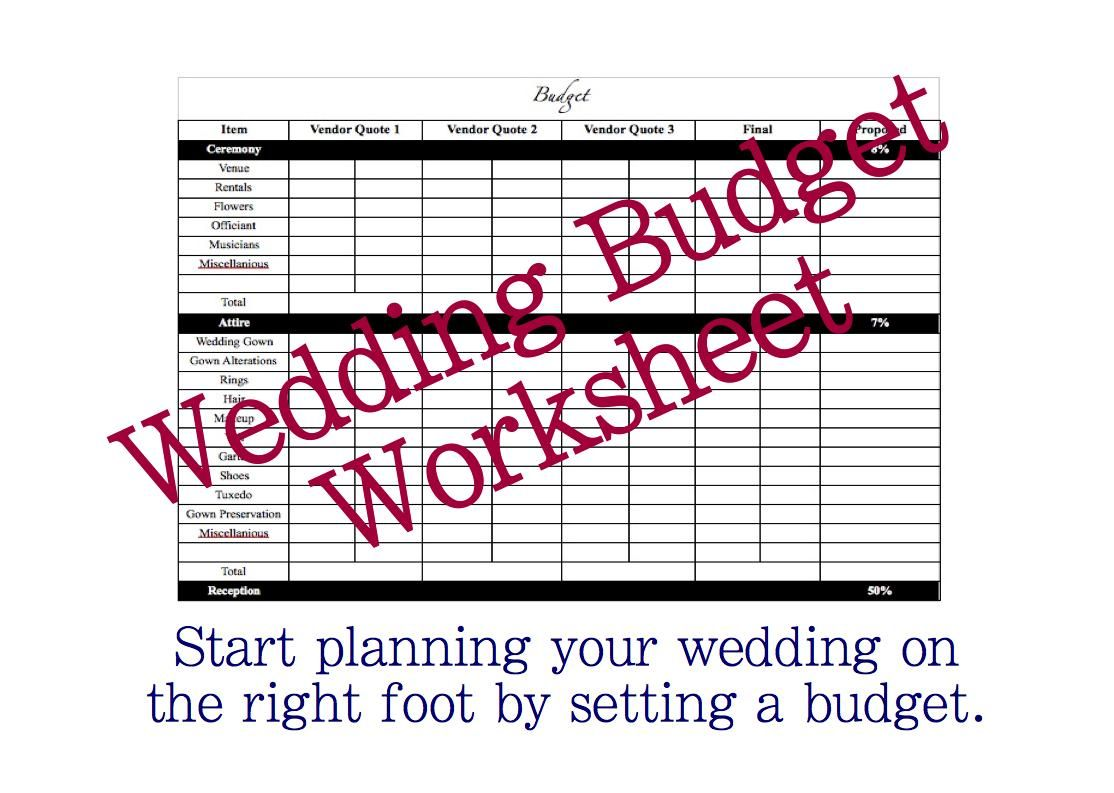 Print A Free Wedding Budget Worksheet