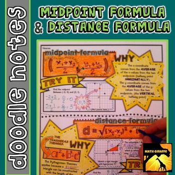 Finding The Midpoint And Distance Between Two Points Doodle Notes When Students Color Or Doodle In Math Class Midpoint Formula Distance Formula Doodle Notes