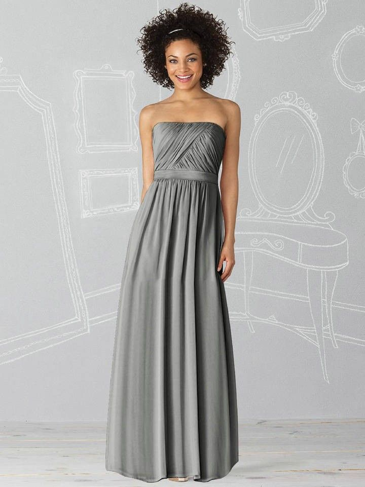 Lux Chiffon Strapless full length charcoal gray Prom Dresses ...