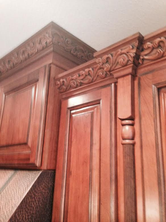 Kitchen Cabinet   Kemper Cabinets, Cherry, Whiskey Black Cabinets, Copper  Hood, Detailed