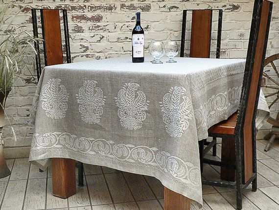 Linen Tablecloth Grey Gray Silver 59x77 ECO By CrystalNatalina, $65.00